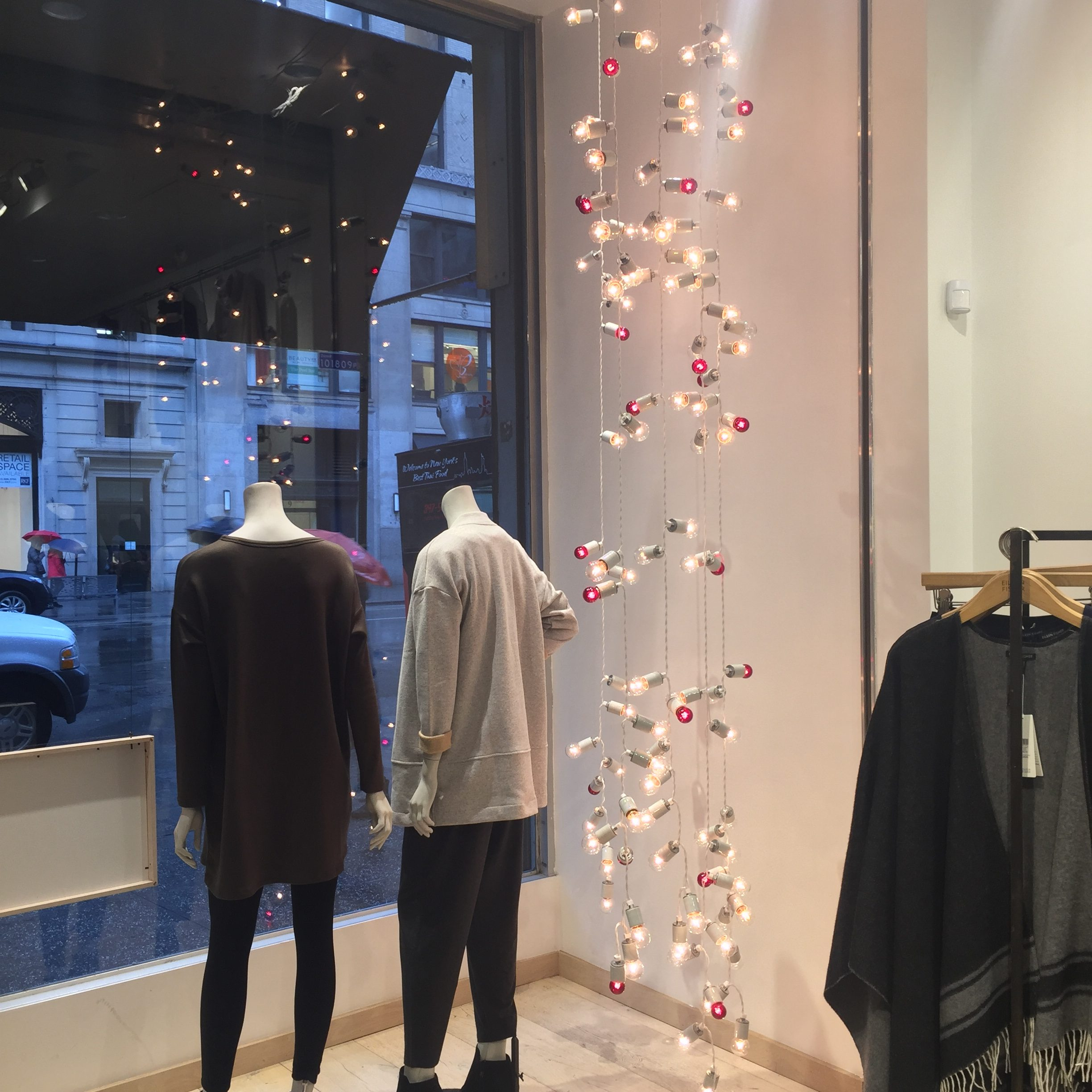 Custom fabricated and manufactured string lights for Eileen Fisher holiday window displays.